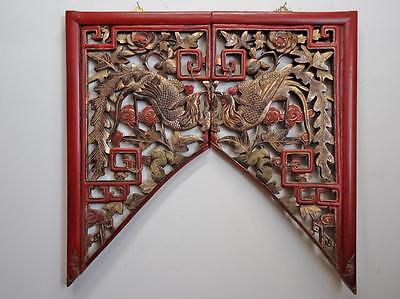Pair Antique Chinese  Wood  Wall Pane/Screen  (Prosperity & Nobility)19c- (B)