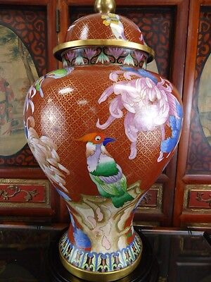 "Large  Vintage Chinese Cloisonne Temple Jar 20"" High"