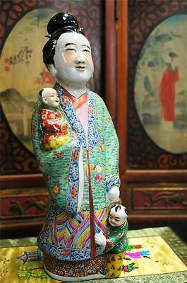 Rare Large Chinese  Porcelain Female Statue Sculpture Figurine Oriental Marked