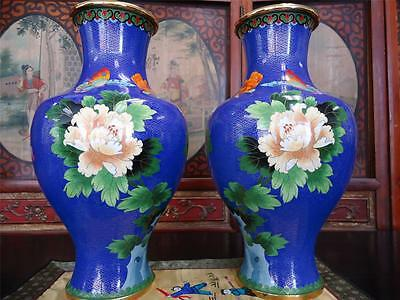 "Large Pair o Chinese Cloisonne  Bright Blue Vases  17""H  1990s"