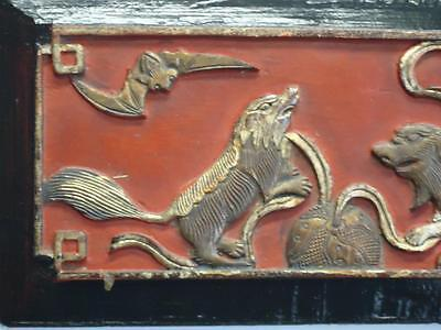 """Antique Chinese Wood Carving Foodog Wall Panel 13.1/4""""W  (Dra19c) (#ff120)"""