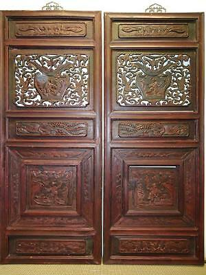 One Pair Antique Chinese Bedframe,  Wood Panels For Wall Deco 19c  (bb117,118)