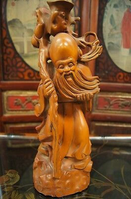 Hand Carved Solid Boxwood Sculpture God Of longevity