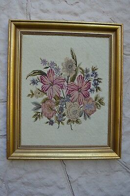 VTG antique petite point lilies & flowers gold wood frame needlepoint background