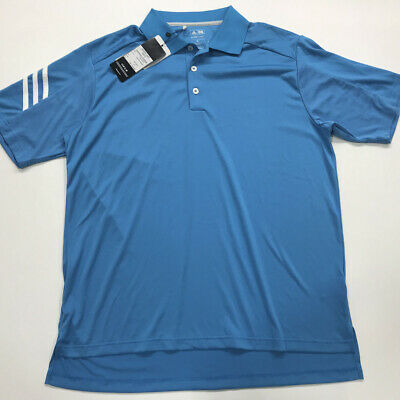 764dbd02 adidas Men's Climacool 3-Stripes Polo Shirt Oasis Blue/White Relaxed Fit M  READ