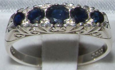 Solid Sterling Silver Natural Deep Blue Sapphire Victorian StyleEternity Ring