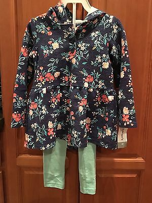NWT Carters Girls 2pc Blue Floral Hooded Top & Aqua Leggings Size 4T