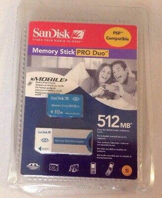 SanDisk Memory Card Stick Pro Duo 512Mb Duo Adapter Psp Sony Cybershot Camera