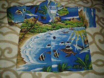 Childs RJC Camp Beach HawaiiaN Cotton Shirt Blue w/Beach Ambiance Sz 12 Months