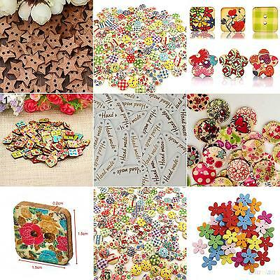 JT_ 100x Star Heart Flower 2 Holes Wood Sewing Craft Scrapbooking DIY Buttons