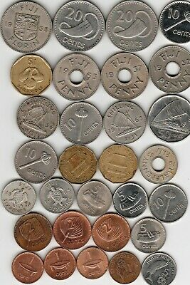 30 different world coins from FIJI some silver