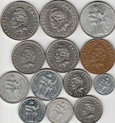 13 different world coins from NEW CALEDONIA