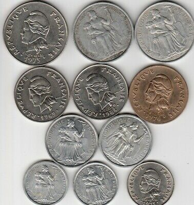 11 different world coins from FRENCH PACIFIC