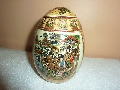 Chinese Porcelain 12.7 Cm High Egg With Chinese Ladies & River  Landscape Design