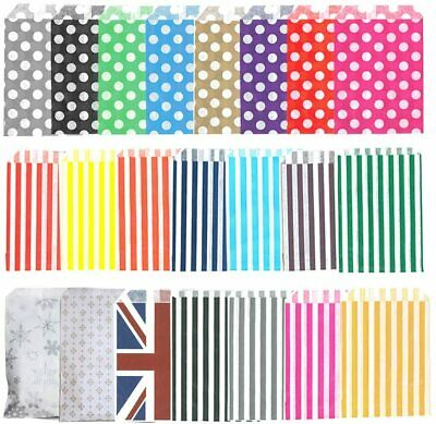 100 x Candy Striped paper bags for sweets favour/buffet/wedding cake/gift/party
