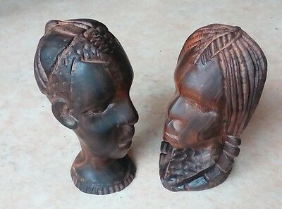 Two Small African Hardwood Carvings Man & Woman c.1930s