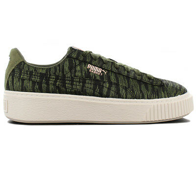 a11a7c0745c PUMA BASKET SUEDE Platform Creepers Olive Green Juniors Girls Womens ...