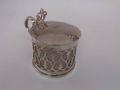 Antique silver mustard pot. Dated 1842.
