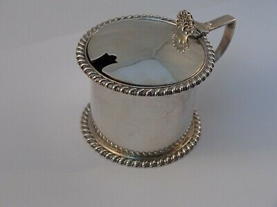 Antique silver mustard pot. Dated 1918.