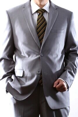 Mens Light Gray Two Button Slim Fit Extra Fine Dress Suit?Sml-60512H-60538-Lgr