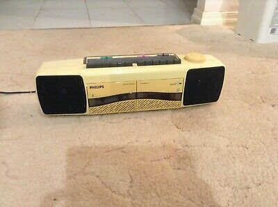 Philips vintage portable two side cassette tape player recorder radio