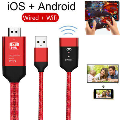 2K 60Hz HD WiFi HDMI Cable Adapter For iPhone Xiaomi Huawei Android Phone to TV