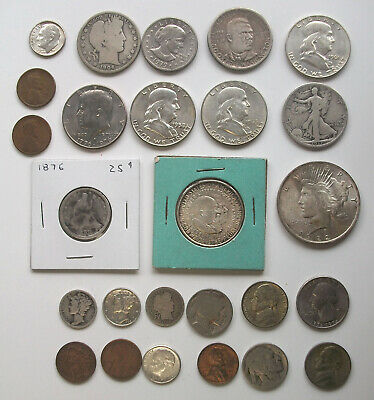 Old Estate US Coin Collection - Silver - Peace Mercury Barber Buffalo Seated