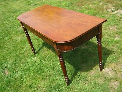 """William IV Mahogany """"D"""" Shape Console (or Side) Table with Turned Legs"""