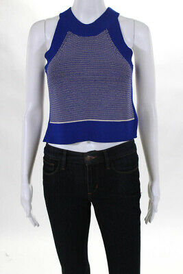 2ec755fc463a71 Wilfred Womens Crop Top Size 2XS White Blue Striped Sleeveless Crew Neck