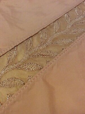Antique Vintage French silk And Lace Top Sheet Bedspread pink Peach Full Size #1