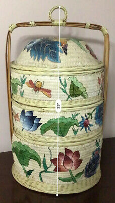 1900,s HAND WOVEN CHINESE WEDDING BASKET 3 TIER STACKING PAINTED WICKER BAMBOO