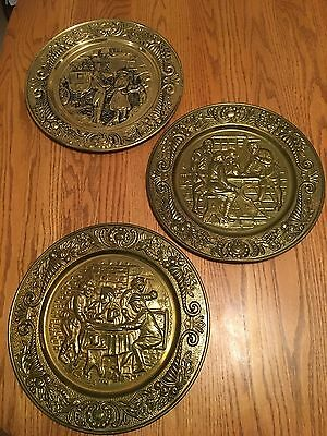 Three Vintage Repousse English Brass Wall Hangings