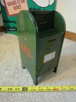 Vintage All American Postal mail box coin bank. Pressed steel collectible. Nice!