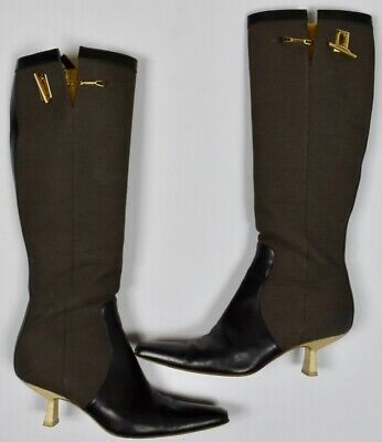 0308c7b73 Gucci Women's Leather Canvas Knee-High Boots Size 7.5 B US