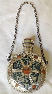 c1891 ANTIQUE Scottish AGATE SILVER Perfume Scent Bottle Art Nouveau CHATELAINE