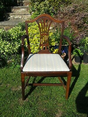 George III Hepplewhite Humpback Mahogany Open Arm Chair with Drop in Seat