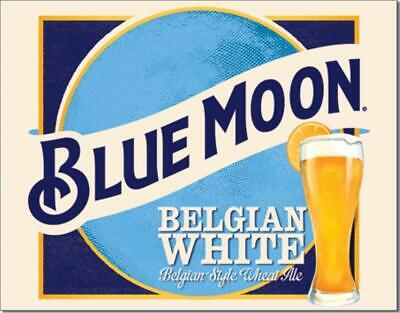 Blue Moon Belgian White Style Wheat Ale Tin Metal Bar Beer Sign