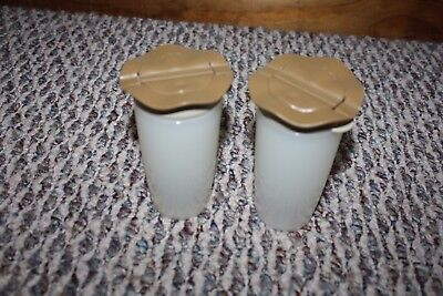 Tupperware Open House 4 oz Brown Replacement Salt or Pepper Shaker Set 4923A