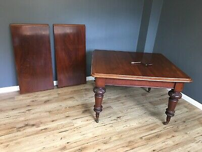 Antique Dining Table Extending Table Mahogany 2 Leaves Wind Out Table