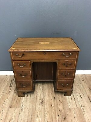 Antique Inlaid Kneehole Desk Ready To Use