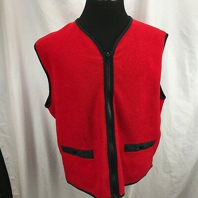 VTG ORVIS red fleece zip front vest two pockets zip front Made in USA Mens XL