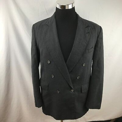 VTG Evan Picone Charcoal Gray 100%Pure Wool  Double Breasted Blazer 42 R USA