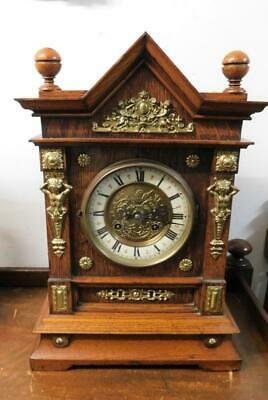 brass and oak cased striking mantel clock c1900s