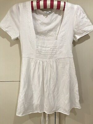 9058eff6fb9f8 Mamas & Papas Maternity Top White Size 8/10 Small Cotton Short Sleeve