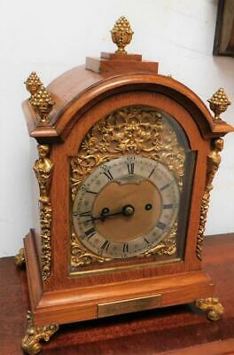 honey oak cased double fusee bracket clock ,goldsmiths london