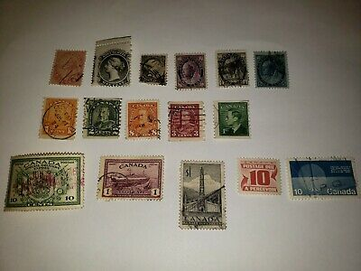 Lot Of Canada Stamps 1859-1970, 16 stamp lot used