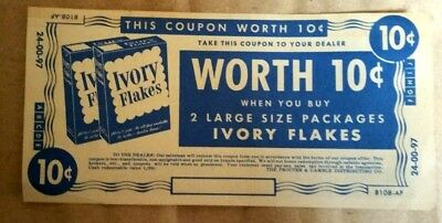VINTAGE IVORY FLAKES 10¢ COUPON 1940-50's NO EXPIRATION DATE  PROCTOR AND GAMBLE