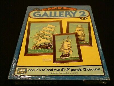 1978 Vt.Craft Master Gallery 2 Full Sails Sailboat Oil Paint by Number Set Craft
