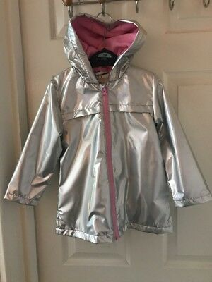 Girls Holographic Iridescent Shiny Silver Raincoat Hooded Jacket 3-4 Years NEW