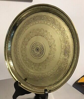 "Vintage 11"" PERSIAN ISLAMIC round brass DRINKS TRAY OR PLATTER ORNATE DECORATION"